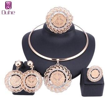 970519226644 Moda de oro color cristal Juegos de joyería diseño grande del traje  colgante collar para la boda Africana Cuentas joyería