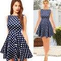 Polka Dot impressão Vestido de Verão Casual Vestidos Sem Mangas Moda Vestidos de Festa As Mulheres Se Vestem Rockabilly Estilo Vintage Feminino