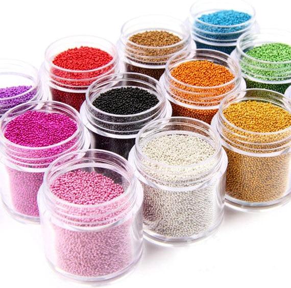 1 Box 0.6-0.8-1MM Caviar  Nail Art Bead Rhinestone For Nails Micro Nai Crystal Ball 3D Nail Art Decorations 15Colors Choice