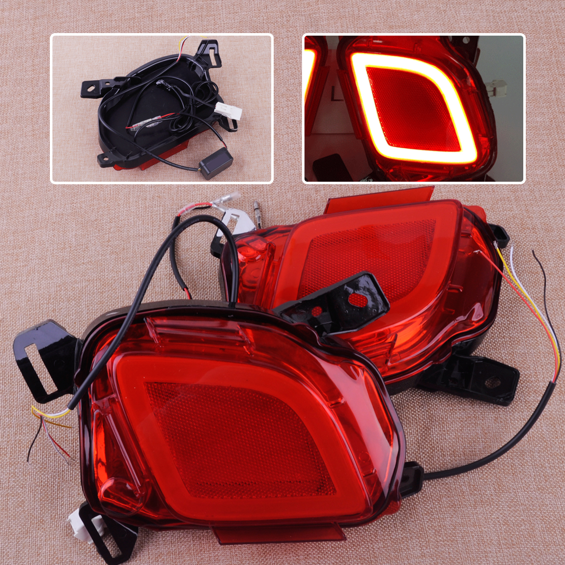 CITALL 2pcs LED Rear Bumper Brake Tail Lights Turn Signal Lamps Daytime Running Light Fit For Toyota Highlander 2015 2016 2017 led rear bumper warning lights car brake lamp cob running light led turn light for honda civic 2016 one pair