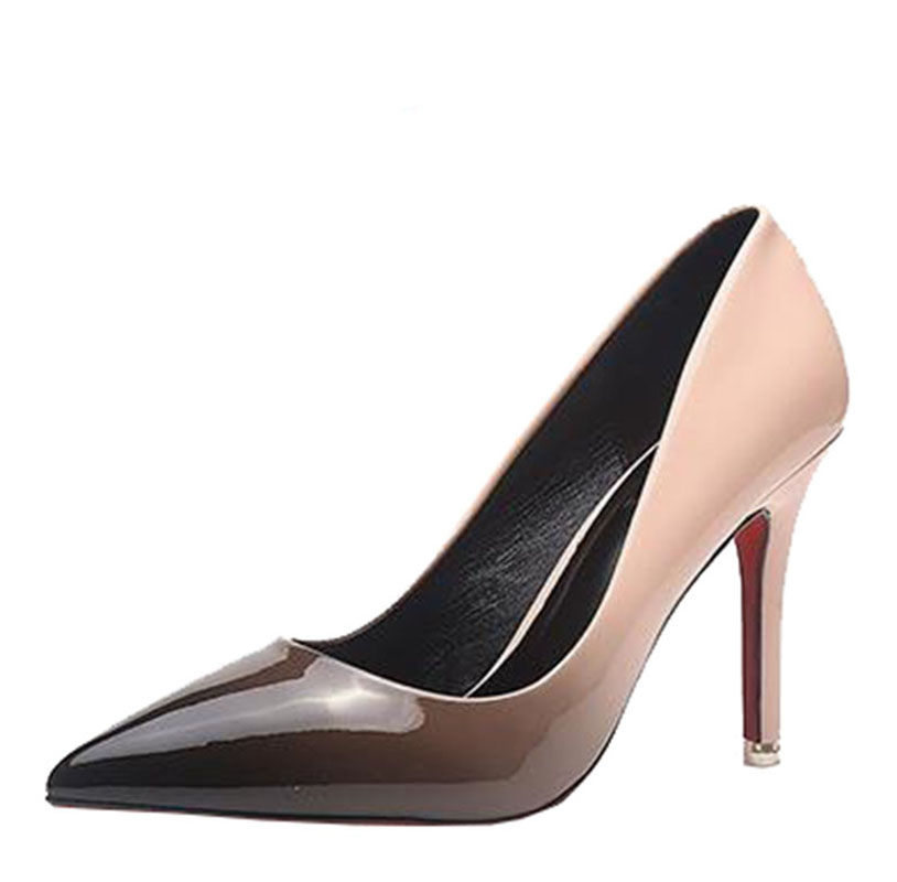 2017 Spring And Autumn New Korean Documentary With Fine Shallow Mouth Shoe Fashion Leather Ol All-match Gradient Pink High-heele 14cm sexy fine with nightclub shiny diamond high heels spring and autumn shallow mouth princess wedding shoes