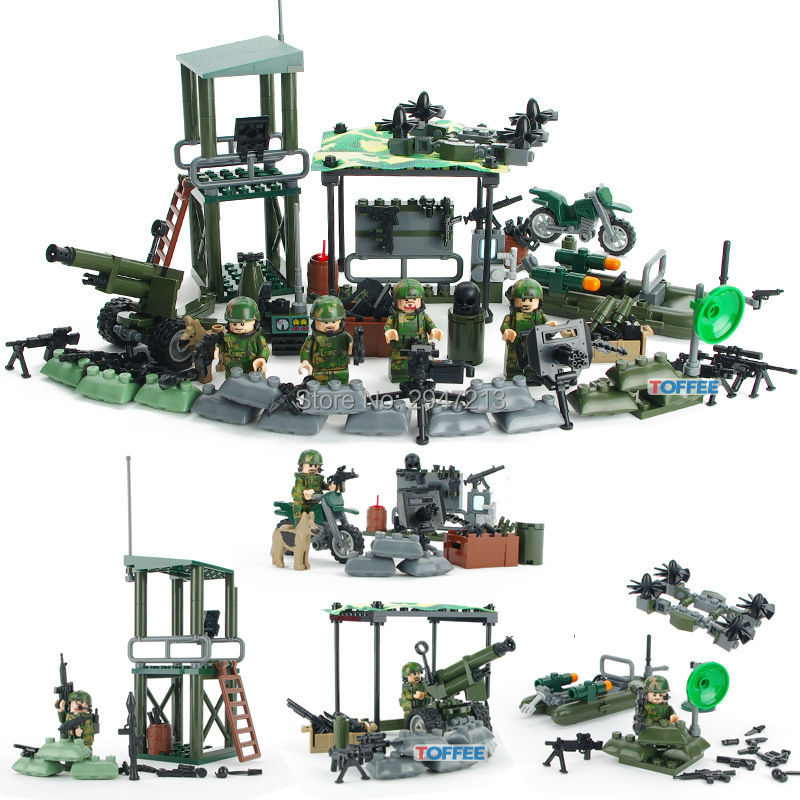 HOT compatible LegoINGlys Military figures with weapon Building Blocks World War II Army Jungle Commando toys for Children gift enlighten 1406 8 in 1 combat zones military army cars aircraft carrier weapon building blocks toys for children