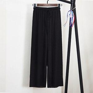 Image 5 - 女性の夏の薄いニットズボン黒ワイド脚ルース足首丈パンツカジュアルズボン弾性ウエストプラスサイズパンツ S 4XL