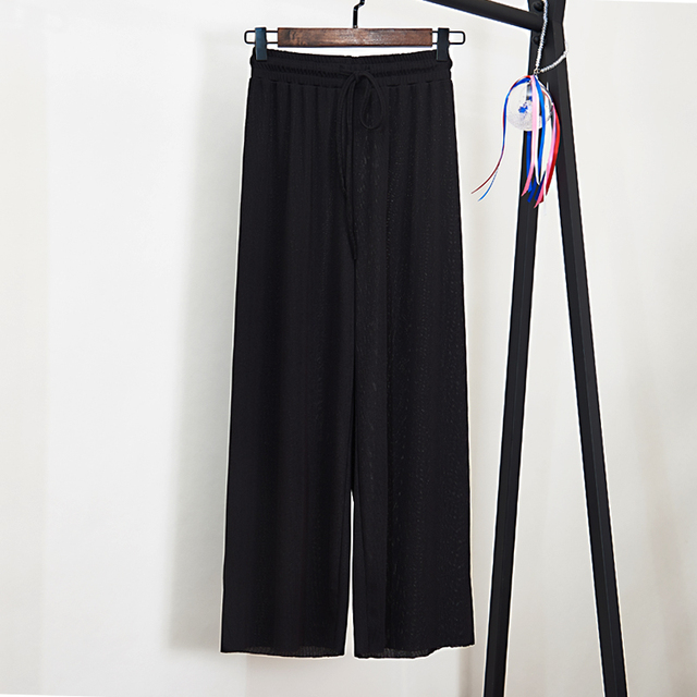 Women Summer Thin Knit Trousers Black Wide Leg Loose Pants Ankle Length Pants Casual trouser Elastic Waist 5