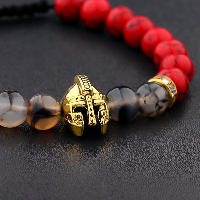 2020 Charm Men Weaving Bracelet Gold Knight Spartan Warrior Gladiator Helmet Red Turquoises Stone Bracelets For Women ABK014