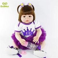 Bebes reborn DollMai Real baby full silicone dolls reborn gift toys 2257cm newborn girl toddler dolls can bathe