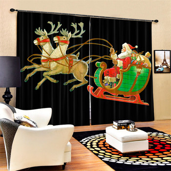 Santa Claus 3D Christmas Blackout Curtains For Living room Bedding room Decor Tapestry Wall Carpet Drapes Cotinas