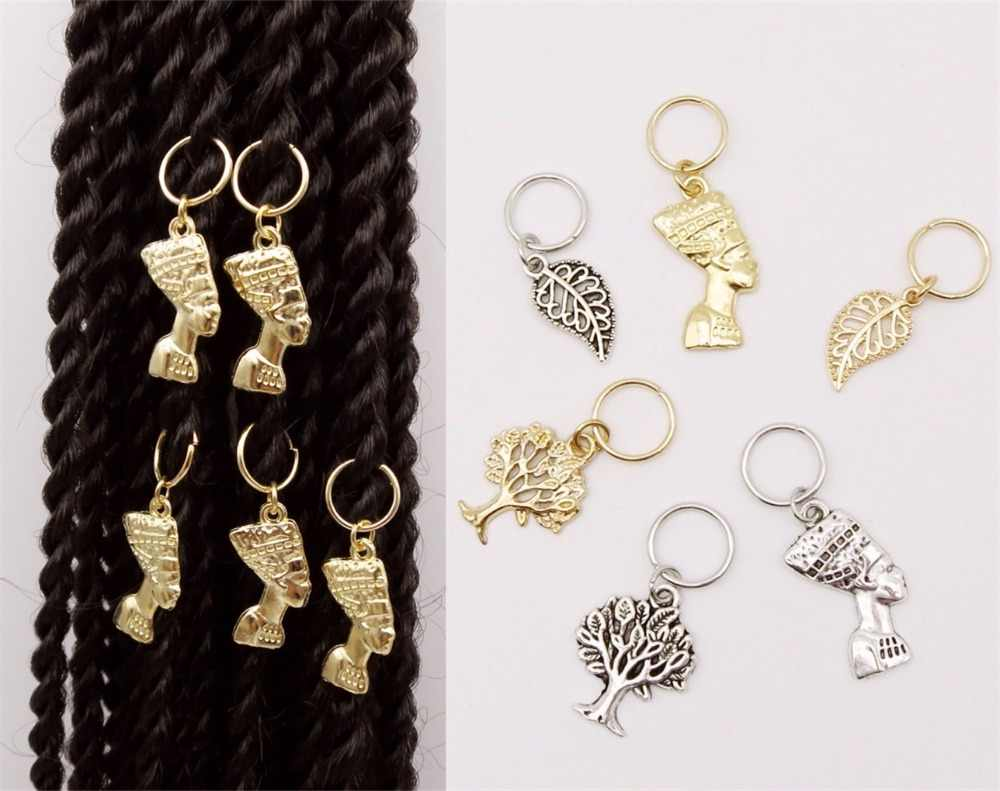 5Pcs/Pack Golden different 6 styles Charms hair braid dread dreadlock beads clips cuffs  rings Jewelry dreadlock accessories