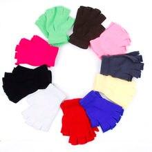 Damskie zimowe rękawiczki bez palców rękawiczki jednokolorowe bez palców pół palce ciepłe rękawiczki z dzianiny rękawiczki Unisex