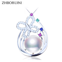 ZHBORUINI 2019 Necklace Pearl Jewelry Natural Freshwater Pearl Bow Pendant 925 Sterling Silver Jewelry For Women Wholesale Gift zhboruini fashion pearl jewelry set natural freshwater pearl flower necklace earrings ring 925 sterling silver jewelry for women