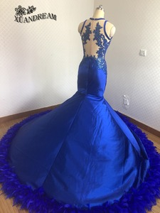 Image 4 - חם נוצת שמלות רויאל בלו אלגנטי בת ים ערב כותנות robe דה soiree נדל תוצרת באיכות גבוהה זול שמלת ערב למסיבה