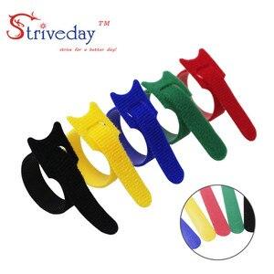 Image 3 - 100 pz 5 Colori possono scegliere di Magic tape cablaggio/nastri fascette/nylon del Legame del cavo Del Computer via cavo trasduttore auricolare del Cavo tie