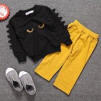 Baby Boy Clothes Spring Autumn Full Sleeved Little Monster Design T Shirt Long Pants 2PCS Christmas