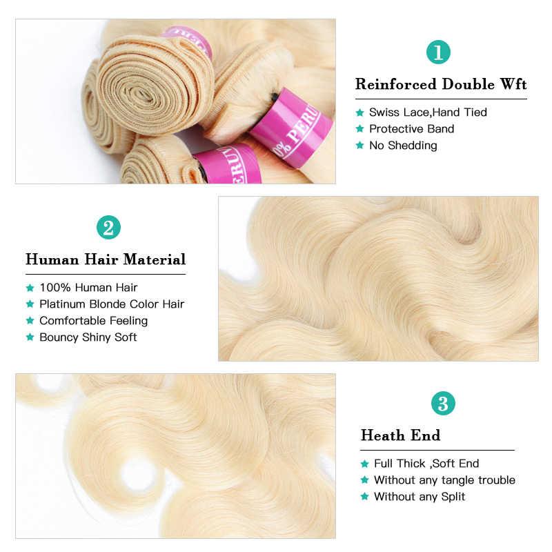 Monstar wiązki ludzkich włosów z zamknięciem 5x5 brazylijski włosy wyplata zamknięcie koronki z 2 3 4 pakiet Remy 613 blond ciało fala pakiet