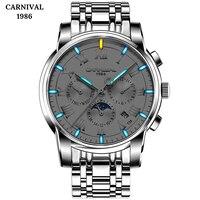 Швейцария Carnival Топ бренд светящиеся тритиевые Мужские механические часы Роскошные наручные часы с календарем erkek kol saati Montre Homme