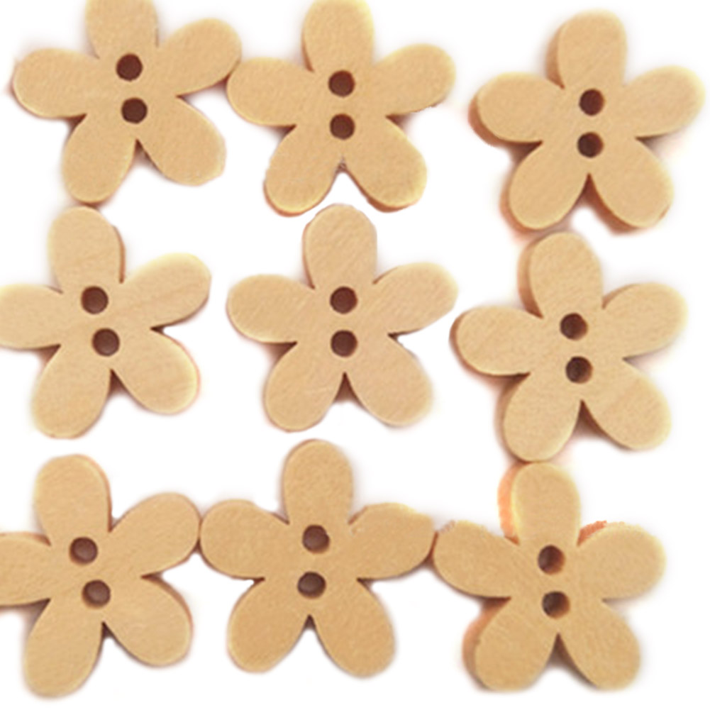100pcs Small Flower Wood Buttons 15mm natural light brown Colours Sewing Buttons for Childrens or Baby Clothing Crafts