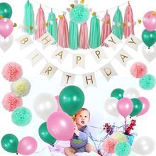 85 Pcs Tissue Paper Flowers Pom Poms Tassels DIY Garland Balloons Kit for Birthday Wedding Party Decoration