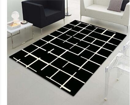 Table basse chambre tapis Noir et blanc rayures Acrylique fibers ...