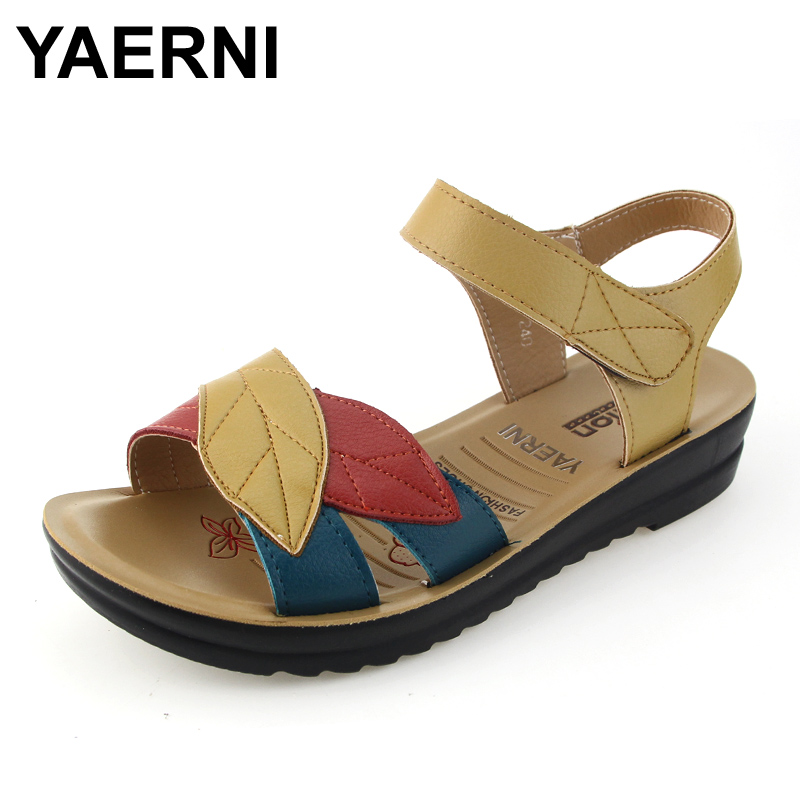YAERNI summer new mother sandals soft bottom anti-skid middle-aged fashion Woman sandals flat comfortable women's shoes 35 41 timetang summer new middle aged soft leather mother sandals soft bottom elderly large size flat woman non slip sandals c212