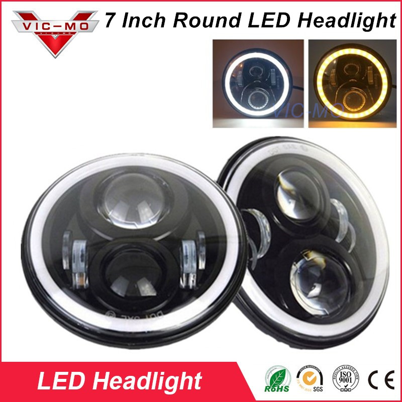 7 Round LED  Headlight 7 inch H4 Hi/low Headlights Headlamp LED Halo Angel Eyes Light Bulbs For Jeep Land-rover Defender