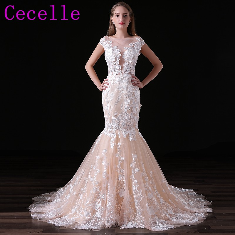 Champagne Lace Mermaid Wedding Dresses With Color Non White Bridal ...