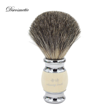 Pincel de barbear para homens, escova artesanal feita à mão pura vintage com alça de resina e base de metal, kit de penteados para homens