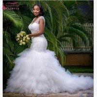 Vintage Plus Size Mermaid Wedding Dresses Beading Sheer Deep V Neck Backless Corset Ruffles Tulle 2019 Spring Garden Wedding Bri