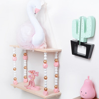 New Nordic Ins Style Storage Racks Bedroom Wall Decoration Children's Room Decoration Wooden Beads Double Hanging Board
