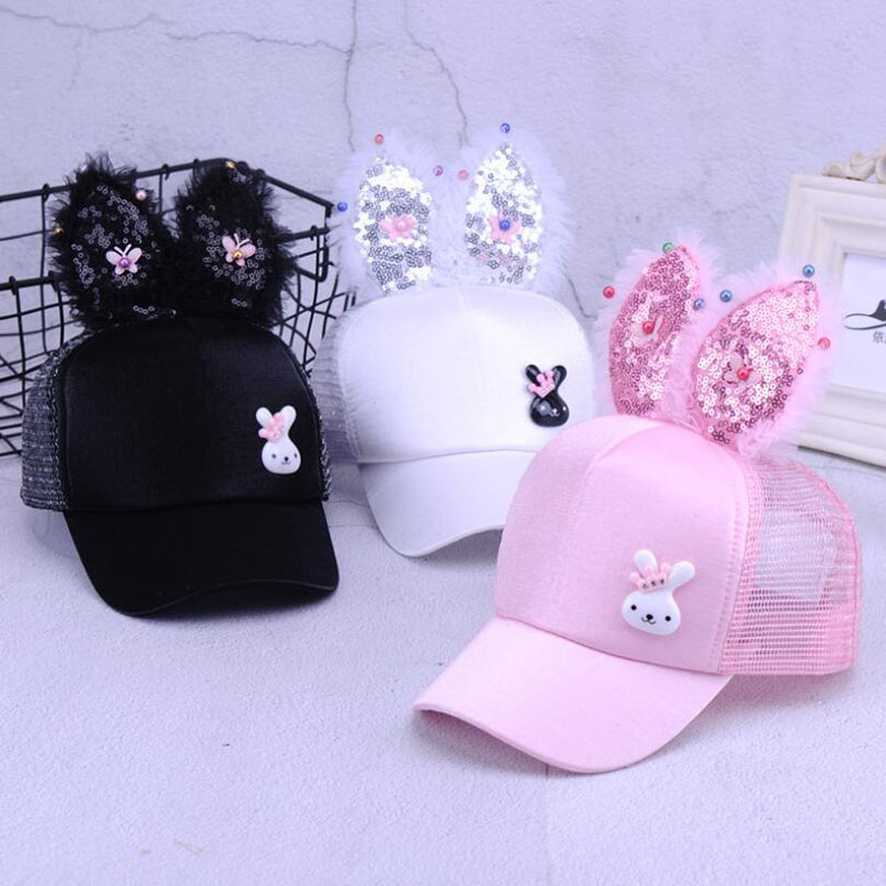 Cute Baby Hat Spring Summer Baby Girl Baseball Cap Glitter Sequin Rabbit Ear Pearl Kids Hat Girls Sun Hats for Children(China)