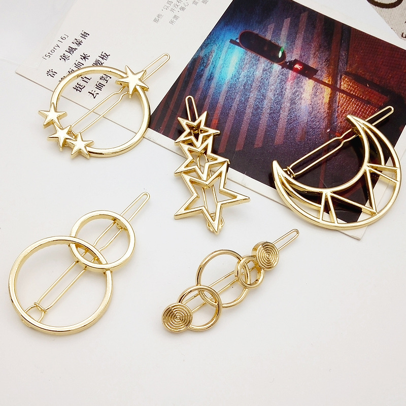 SP&CITY Fashion Star Moon Design Metal Hairgrips For Girls Creative Women Headwear Modern Popular Hairpins Hair Accessories насадка на кий кожаная fairmnded fac 203