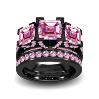 Size 5 11 Luxury Jewelry Three Stone Princess Cut 8mm 5A Pink Cubic Zirconia CZ Party Women Wedding Bridal Lovers' Ring Set Gift