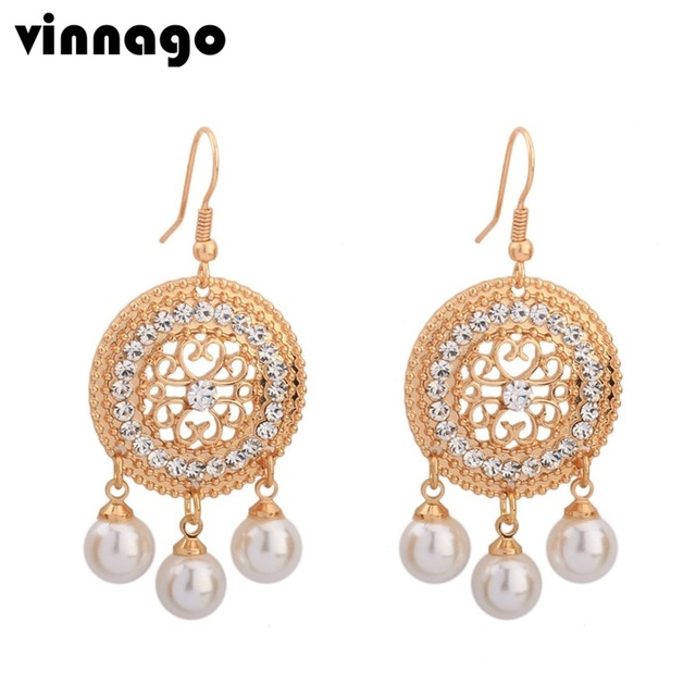 Fashion vintage chandelier earrings crystal imitated pearl drop fashion vintage chandelier earrings crystal imitated pearl drop earring for women 2018 bridal wedding statement earrings mozeypictures Images