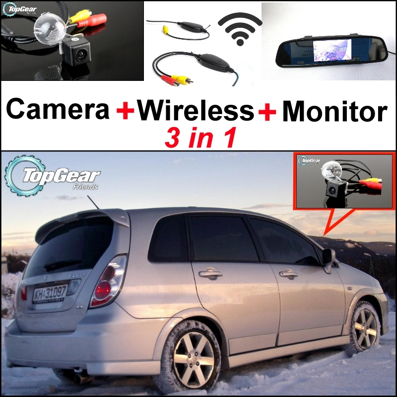 3 in1 Special Rear View Camera + Wireless Receiver + Mirror Monitor DIY Back Up Parking System For Suzuki Aerio Liana Hatchback 3 in1 special rear view camera wireless receiver mirror monitor back up parking system for kia forte k3 cerato 2012 2015
