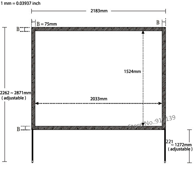 100 inch 4 to 3 fast holding projection screen dimension