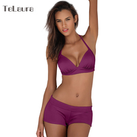 2017 Plus Size Swimwear Women High Waist Bikini Set Push Up Swimsuit Solid Beach Wear Biquini