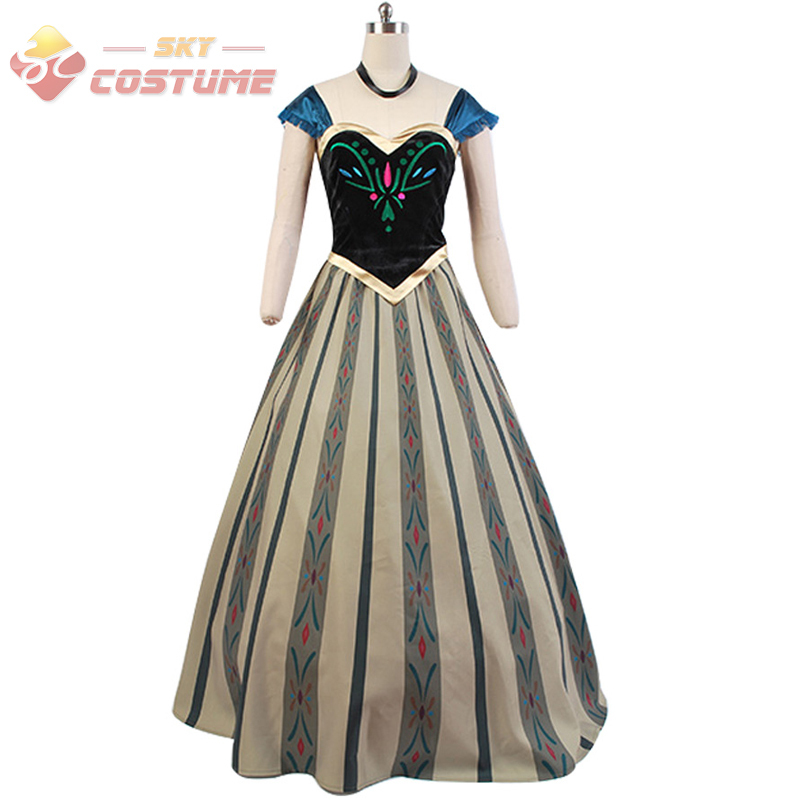 Princess Anna Coronation Fancy Dress For Adult Womens Movie Party Vesitidos In Stock Cosplay Costume Custom Made High Quality