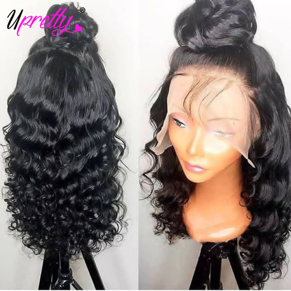 Upretty Hair Curly Human Hair Wig Pre Plucked With Baby Hair Full End Brazilian Loose Deep Wave 180 250 Density Lace Front Wig-in Human Hair Lace Wigs from Hair Extensions & Wigs on Aliexpress.com | Alibaba Group