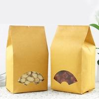 100pcs/lot 9cm*26cm+6.5cm *140micron High Quality Kraft Paper Bags For Candy Paper Shopping Bag