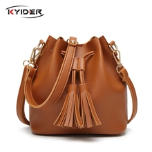 KYIDER Vintage Fashion Small Women Leather Bucket Bag Handbag Tassel Drawstring Shoulder Bag Messenger Crossbody Bags Purses