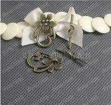Free Shipping Wholesale DIY Antiqued Bronze Vintage Alloy Flower Vine Circle Ring OT Clasp Toggle Bracelet Accessories 30Sets