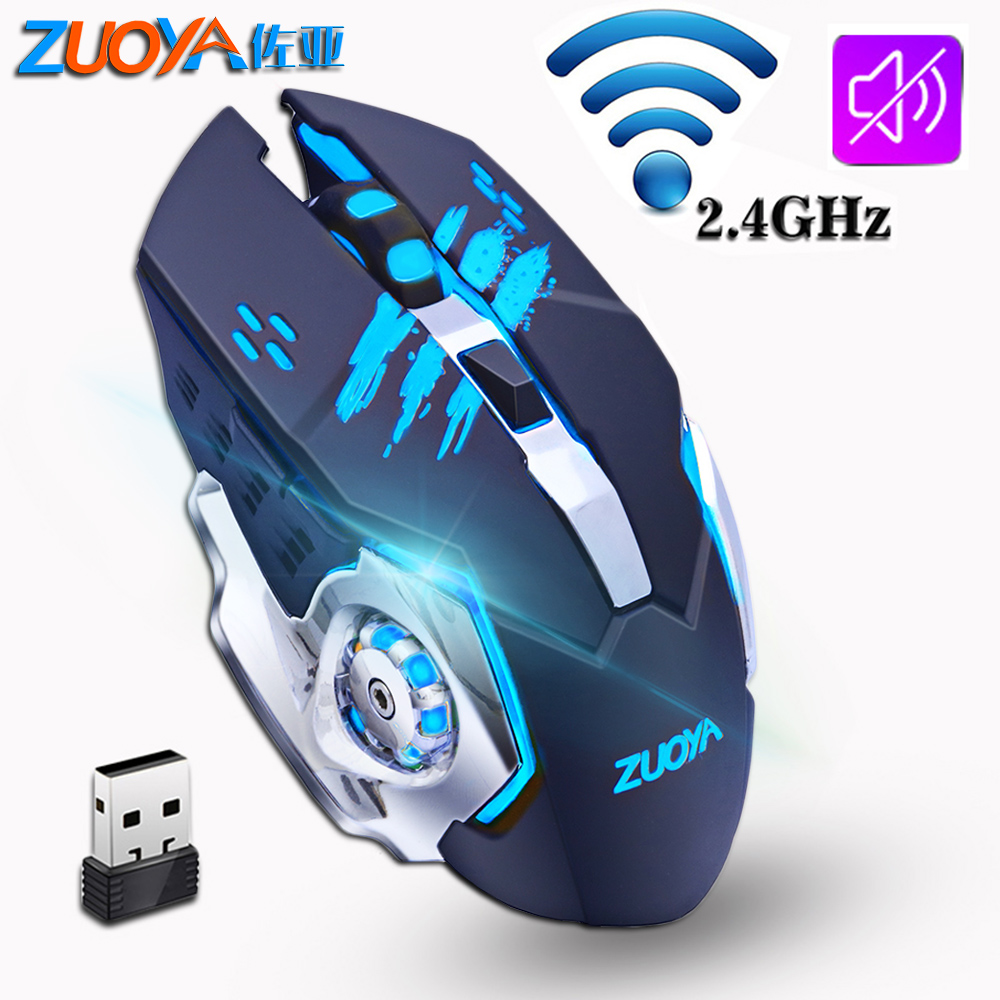ZUOYA Gaming Wireless Mouse 2.4GHz 2000DPI Silent Rechargeable Wireless Mice Backlight USB Optical Game Mouse For PC Laptop