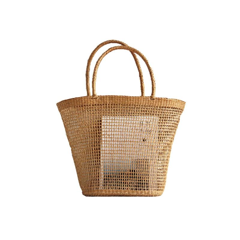 2018 Simple et généreux Non-décoratif couleur unie Net creux texturé sac tissé sac de paille sacs populaires 37x25 cm