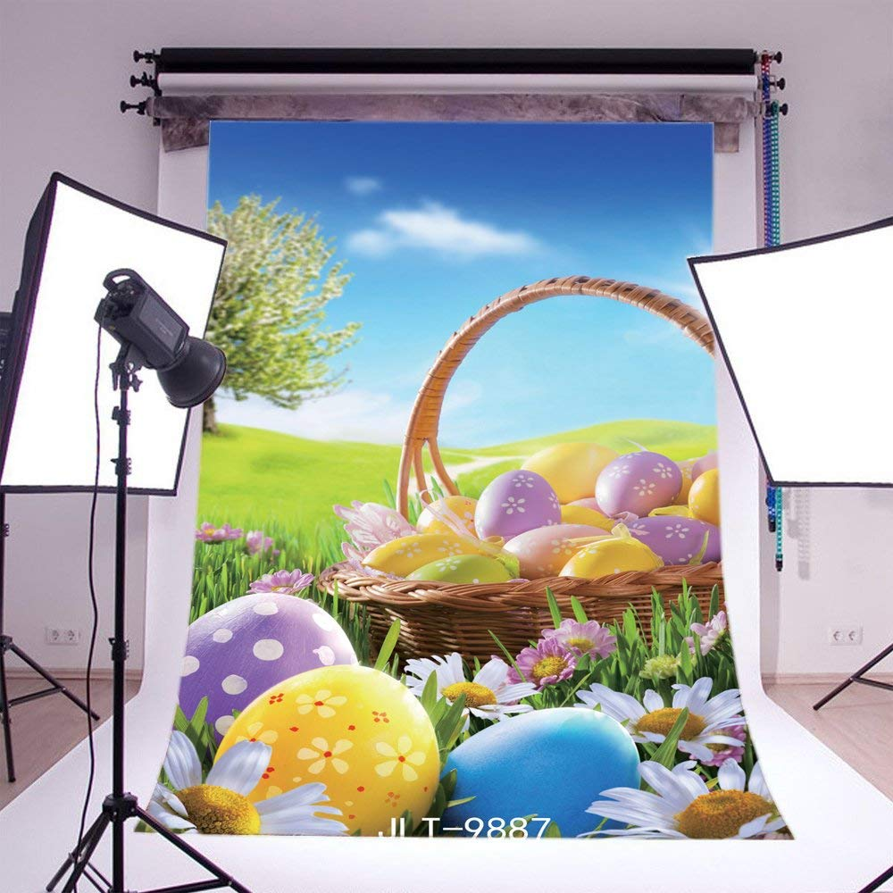 Photography Backdrops Easter Theme Eggs Grass Field Flowers in Photo Studio Accessories from Consumer Electronics