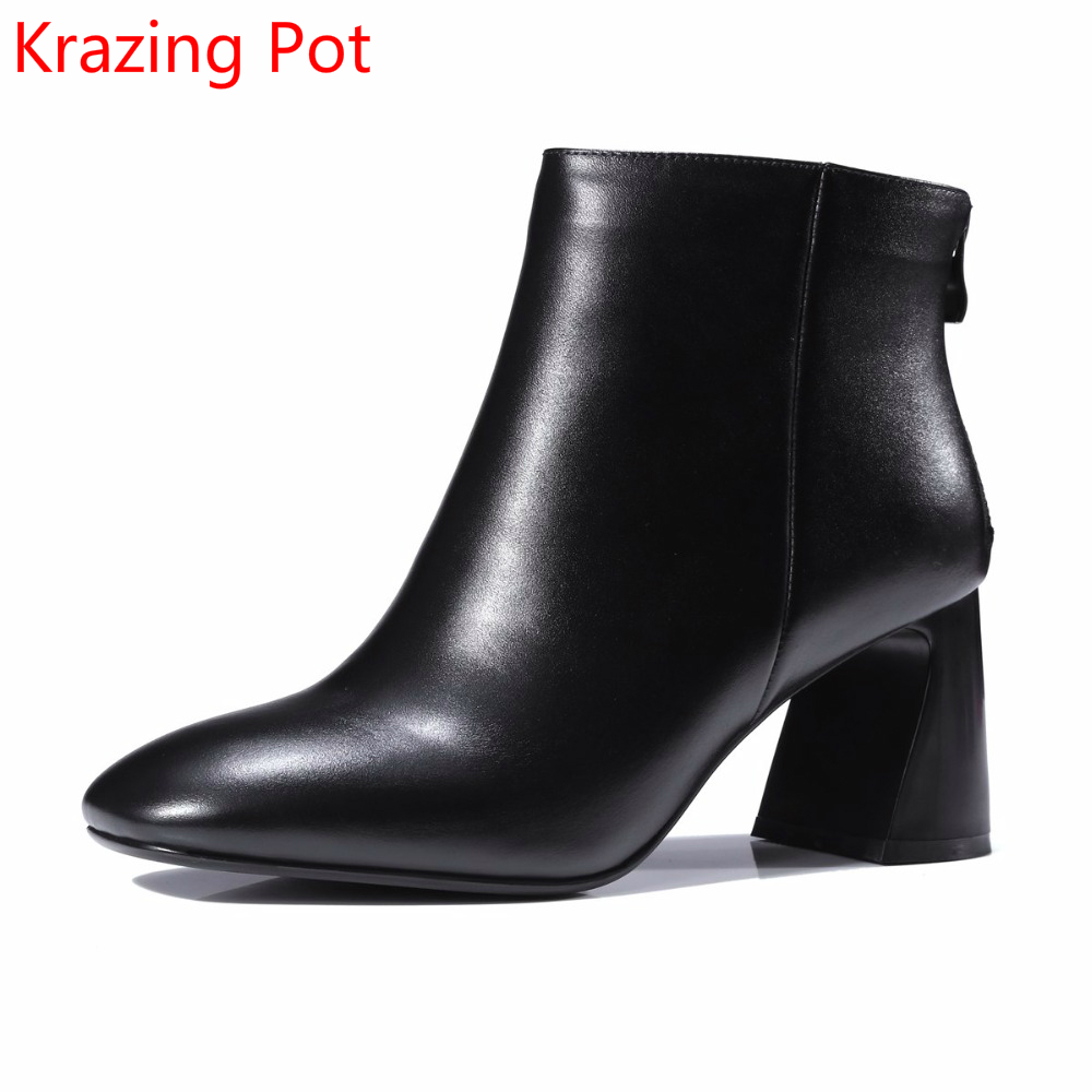 2018 New Arrival Genuine Leather Zipper Runway Autumn Winter Boots Round Toe High Heels Keep Warm Elegant Women Ankle Boots L29 2018 new arrival fashion winter shoe genuine leather pointed toe high heel handmade party runway zipper women mid calf boots l11