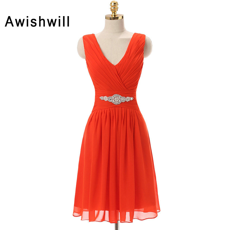 Robe de   Cocktail   Courte Red Color V-neck Crystal Rhinestones Chiffon Red   Cocktail     Dress   Short Party   Dress   Cheap