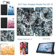 "MTT Aquarelle Case For New Amazon Kindle Fire HD 10 2017 10.1"" Tablet Case For Amazon Fire hd 10 TriFold PU Leather Case Cover"