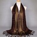 Llanura geométrico fashoin glitter tassels viscosa lurex raya bufanda a cuadros abrigo largo musulmán bufandas