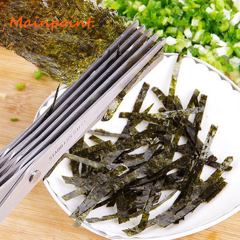 5 Layers Blade Scallion Scissors Multifunctional Kitchen Shredded Knives Fruit Vegetable Cut Herb Spices Cooking Hand Tools