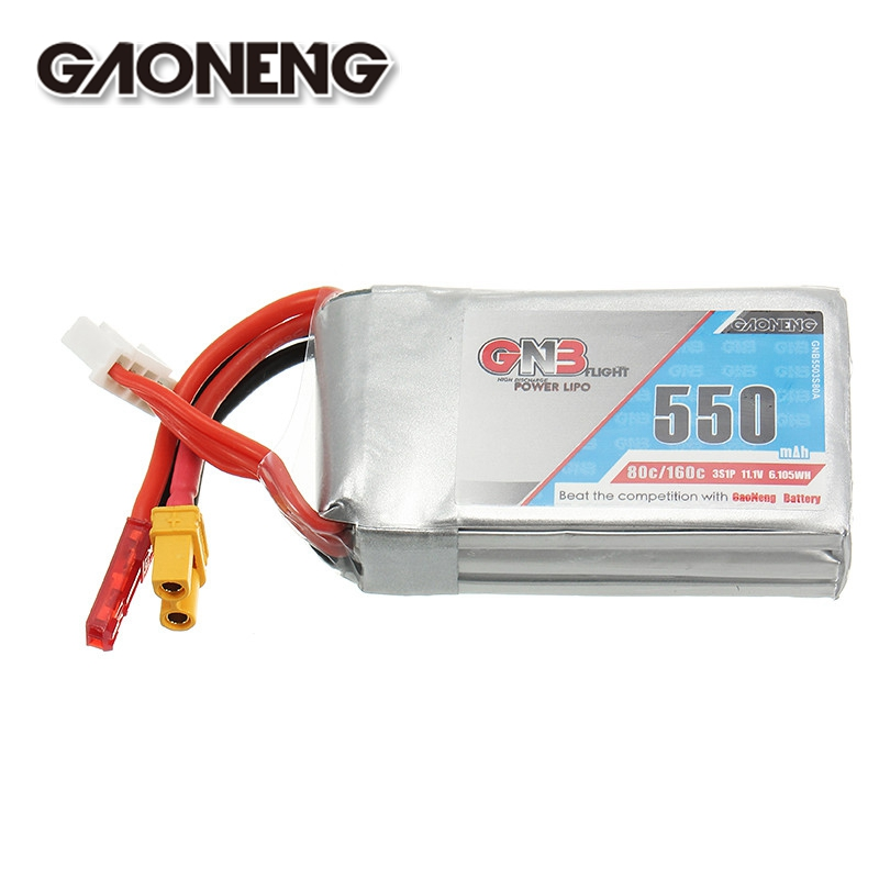 Best Quality Gaoneng GNB 11.1V 550mAh 80C / 160C 3S Lipo Battery JST / XT30 Plug For RC Racing Drone Quadcopter Power gaoneng gnb 11 1v 350mah 50c 100c 3s lipo battery jst xt30 plug connector for rc racing drone fpv quadcopter toy spare parts