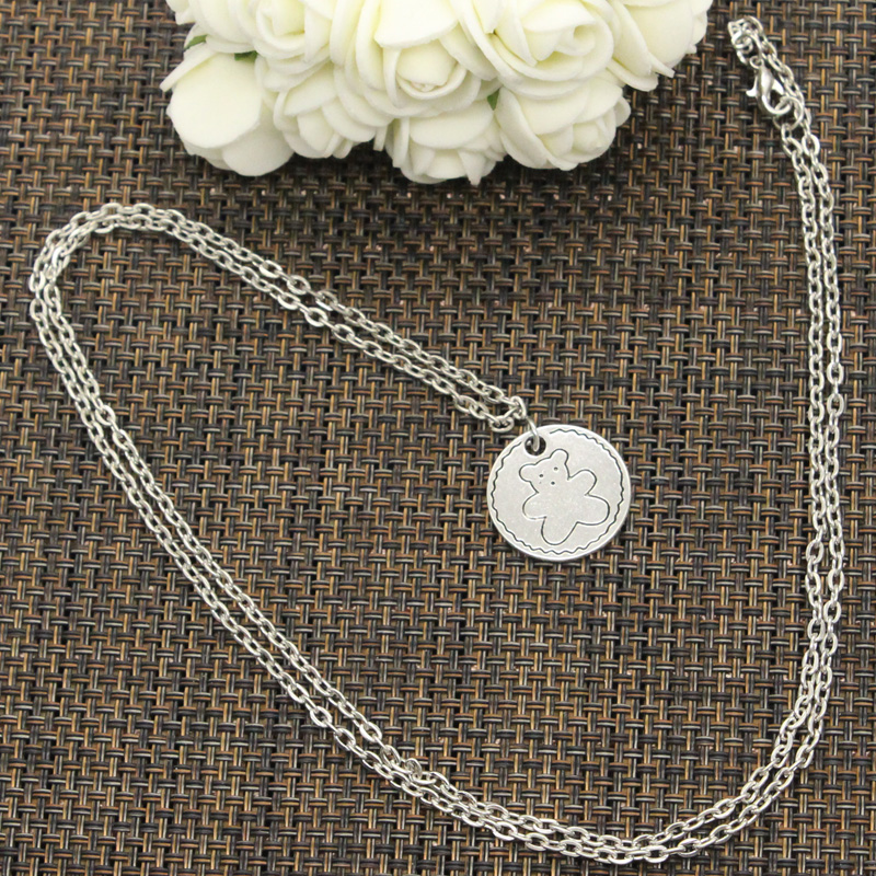 New Fashion Circle Bear Pendants Round Cross Chain Short Long Mens Womens DIY Silver Color Necklace Jewelry Gift 2